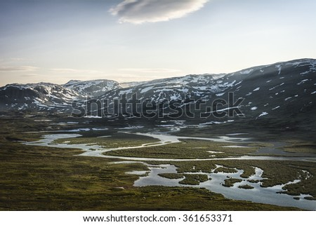 Tundra landscape in northern Lapland, Sweden - stock photo