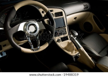 Tuned sport car. Luxury leather interior - stock photo