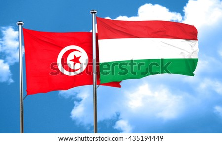 Tunesia flag with Hungary flag, 3D rendering