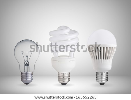tungsten bulb,fluorescent bulb and LED bulb - stock photo