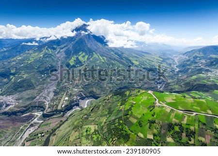 Tungurahua volcano aerial wide angle, Chambo river valley on the right side, high altitude helicopter shot, - stock photo