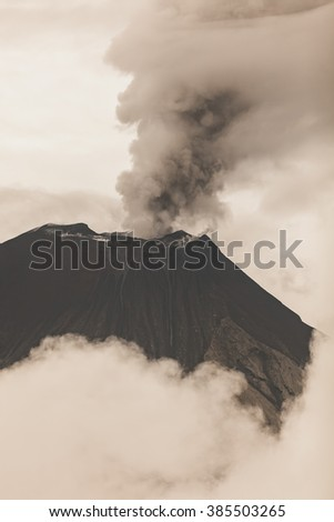 Tungurahua Volcano Crater, February 2016 Powerful Eruption, South America  - stock photo