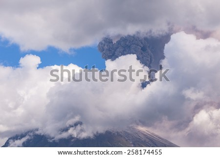 Tungurahua volcano day explosion  - stock photo