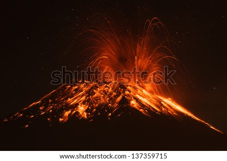 Tungurahua volcano erupting , Ecuador, South America - stock photo
