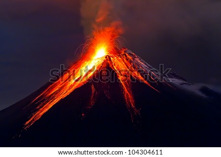 Tungurahua Volcano eruption - stock photo