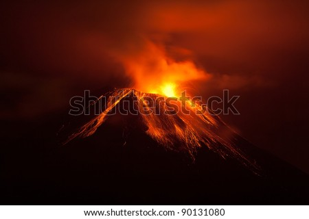 Tungurahua volcano exploding in the night of 30.11.2011,Ecuador - stock photo