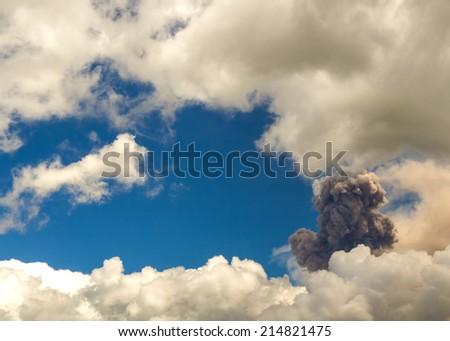 Tungurahua volcano explosion on august 2014, Ecuador, south america - stock photo