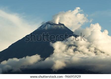 Tungurahua volcano smoking, early 2012 - stock photo