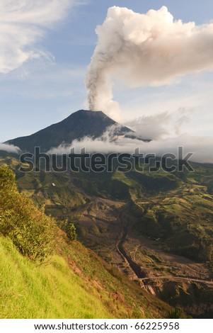 Tungurahua volcano smoking, 29.11.2010 , Ecuador, South America. 4pm local time. - stock photo