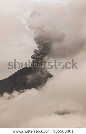 Tungurahua Volcano Surrounded In Clouds Full Of Ash And Smoke, February 2016 Powerful Eruption, South America  - stock photo
