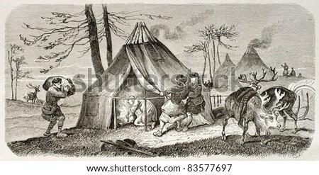 Tungusic encampment old illustration. Created by Adam after Sarytchew, published on Le Tour du Monde, Paris, 1860 - stock photo