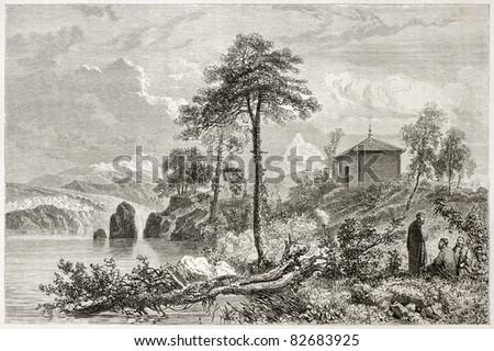Tungusic temple old illustration. Created by Sabatier after Atkinson, published on Le Tour du Monde, Paris, 1860 - stock photo