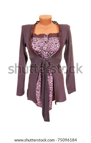 Tunic and blouse isolated on a white background. - stock photo
