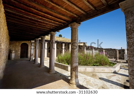 Tunisia. Ancient Carthage. Quarter of the Roman villas - House of the Aviary - stock photo