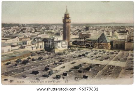 TUNISIA - CIRCA 1908: a postcard printed in France shows hand tinted photograph of Dar el Bey town, circa 1908. - stock photo