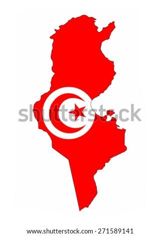 tunisia country flag map shape national symbol - stock photo