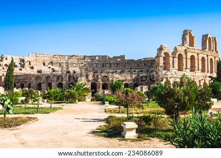 Tunisia. El Jem (ancient Thysdrus). Ruins of the largest colosseum in North Africa - stock photo