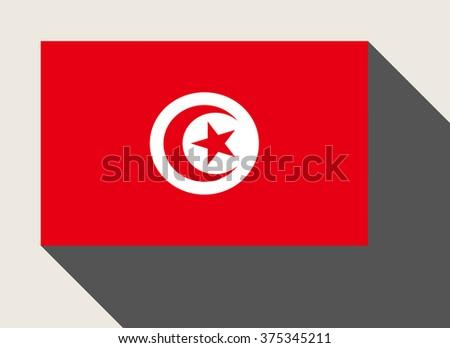 Tunisia flag in flat web design style. - stock photo