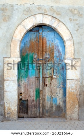 Tunisia, Kairouan, a door of an old house of the Medina - stock photo