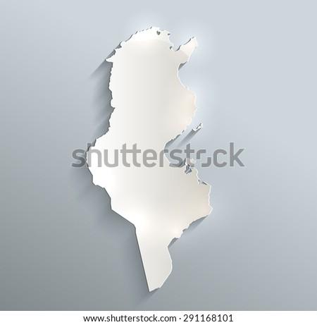 Tunisia map blue white card paper 3D raster - stock photo