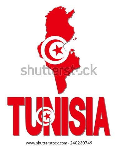 Tunisia map flag and text illustration - stock photo