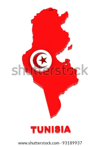 Tunisia, map with flag, isolated on white with clipping path, 3d illustration - stock photo