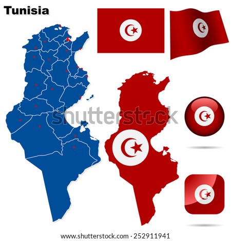 Tunisia set. Detailed country shape with region borders, flags and icons isolated on white background. - stock photo