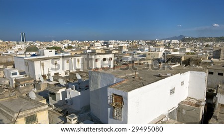 Tunisia. Tunis - old town (medina) seen from roof top - stock photo