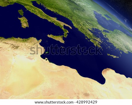 Tunisia with surrounding region as seen from Earth's orbit in space. 3D illustration with highly detailed planet surface and clouds in the atmosphere. Elements of this image furnished by NASA. - stock photo