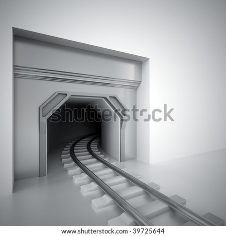 tunnel and metal railway leaving in darkness - stock photo