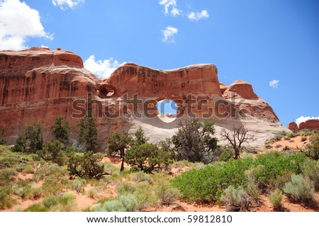 Tunnel Arch at Arches National Park, UT - stock photo