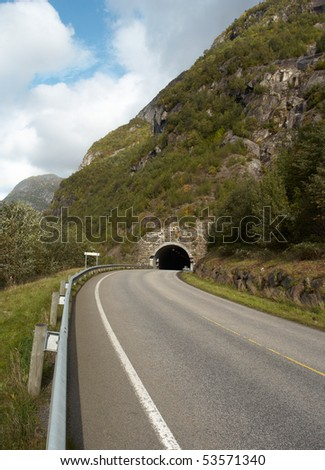 tunnel at the norwegian mountains - stock photo
