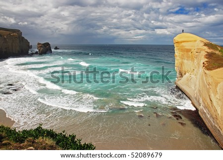 Tunnel beach, New Zealand - stock photo