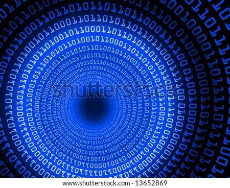Tunnel Blue Binary - fractal illustration - stock photo