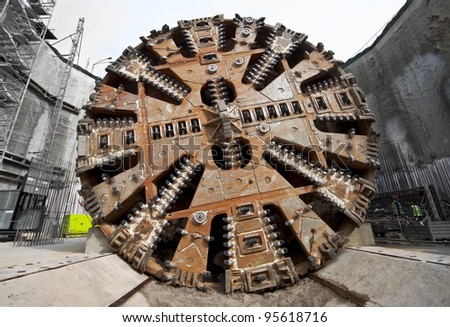 Tunnel boring machine cutter head - stock photo