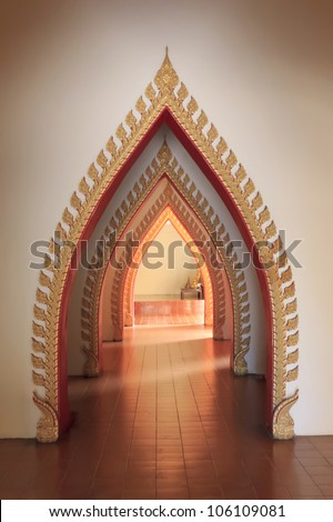 Tunnel door in the thai church at Thailand. - stock photo