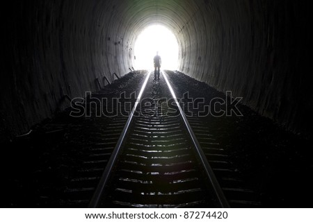 Tunnel ghost. - stock photo
