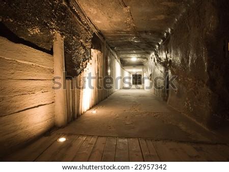 Tunnel in Wieliczka salt mine - stock photo