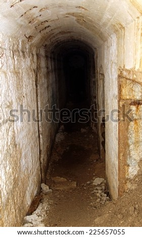 tunnel inside the fortification called Fort Sommo used by the army during the first world war fought in Italy