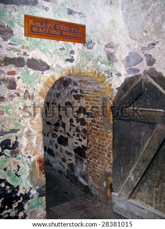 Tunnel leading to the ships in Elmina Castle, used by slaves between Africa and the Americas - stock photo