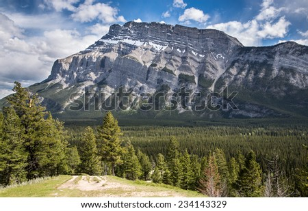 Tunnel mountain in Banff - stock photo