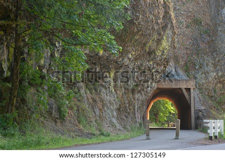 Tunnel near water fall Mountnoma , oregon , usa - stock photo