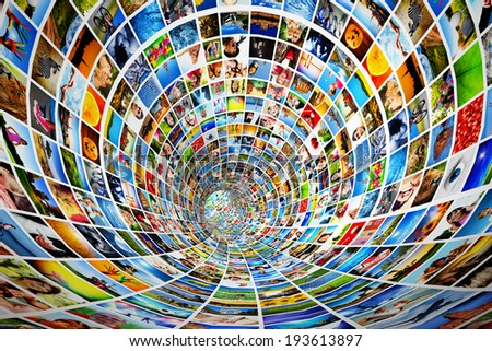 Tunnel of media, images, photographs. Tv, multimedia broadcast, streaming. All photos are mine. Concepts of television, adverstising, internet, entertainment.