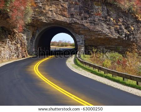tunnel on blue ridge parkway - stock photo