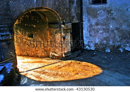 Tunnel passage in a castle - stock photo