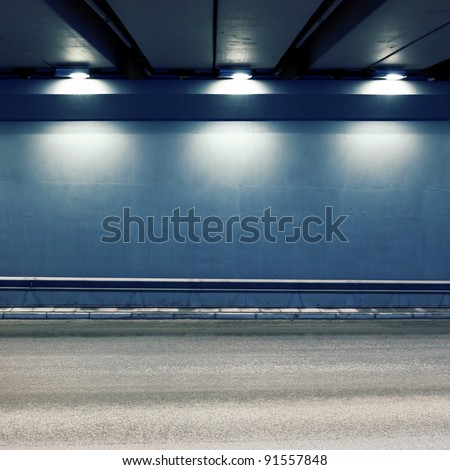Tunnel road area with spotlights - stock photo