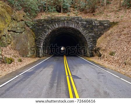 tunnel through mountains - stock photo