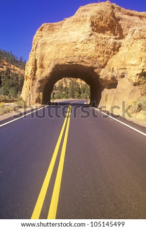 Tunnel Through Rock, Bryce Canyon National Park, Utah - stock photo