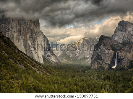 Tunnel View During a clearing winter storm in Yosemite National Park - stock photo