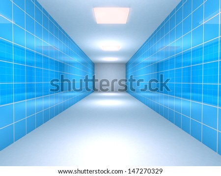 tunnel with blue tiled walls. 3d render - stock photo